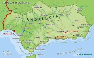 Map of Andalucia with BOOTES stations marked.